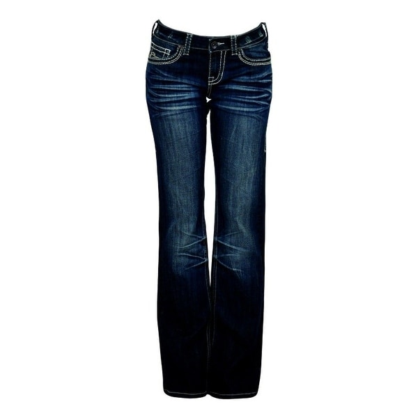 Cowgirl Tuff Western Denim Jeans Womens No Limits Whiskering Dk