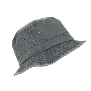 Dorfman Pacific Black Cotton Stone Washed Summer Bucket Hat