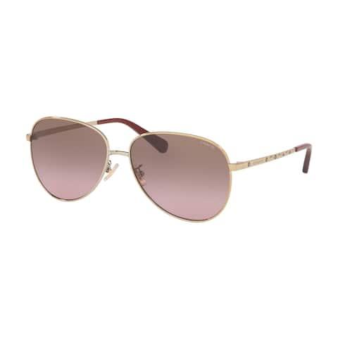 Coach HC7094 900514 60 Shiny Light Gold Woman Irregular Sunglasses