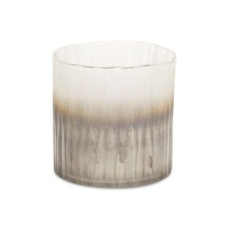 """Set of 2 Latte Brown and White Ombre Decorative Candle Glass Holders 6"""""""