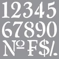 "Olde World Numbers - Americana Decor Stencil 12""X12"""