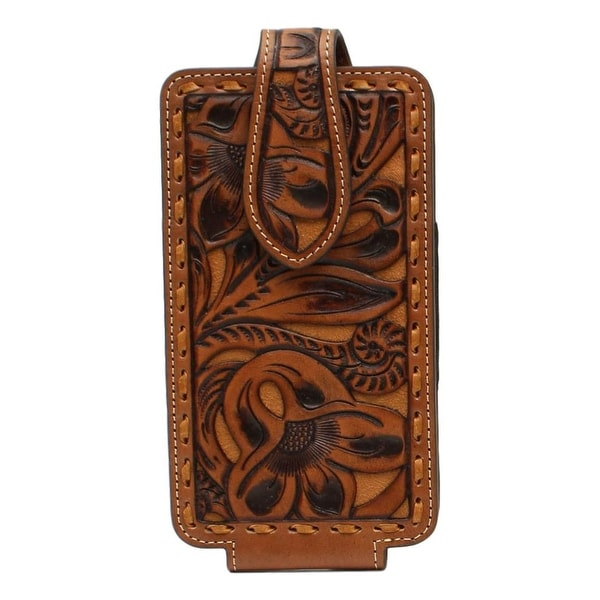 Nocona Western Cell Phone Case Floral Embossed Pieced L Tan