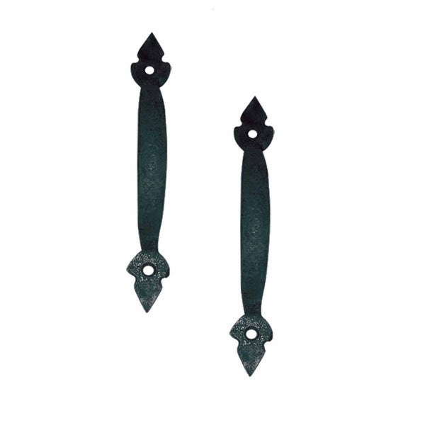 2 Door Pulls Black Wrought Iron Fleur de Lis Set of 2 | Renovator's Supply