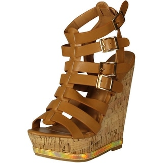 Nature Breeze Womens Barcelona-01 Strappy Open Toe Buckle Platform Wedges - Camel