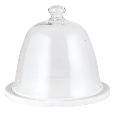 """10"""" Traditional Marble And Glass Dome Cake Stand"""