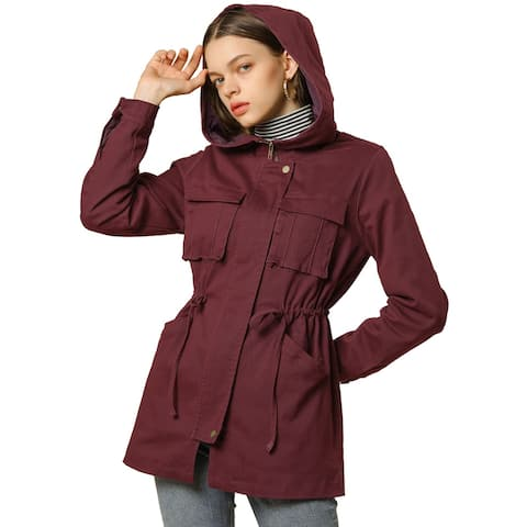 Women's Single Breasted Zip Up Belted Hooded Drawstring Waist Jacket - Brick Red