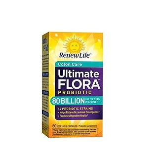 Renew Life Ultimate Flora Colon Care Probiotic 80 Billion (formerly Critical Colon), 60 Count
