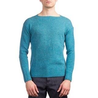 Prada Men's Wool Knitted Crewneck Sweater Blue