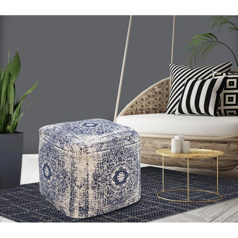 Chic Home Closser Ottoman Cotton Upholstered Two-Tone Square Pouf