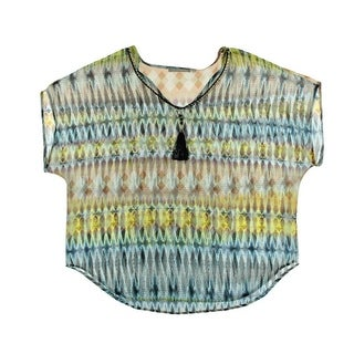 NY Collection Womens Plus Printed Short Sleeves Blouse