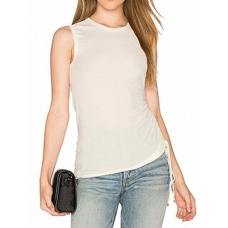 Theory NEW Natural Beige Womens Size Small S Ruched Stretch Knit Top