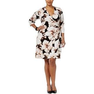 Calvin Klein Womens Plus Cocktail Dress Faux-Wrap 3/4 Sleeves