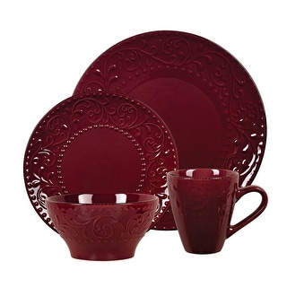 Link to Lorren Home Trends 16 Piece Stoneware Scroll Dinnerware Set-Merlot Similar Items in Dinnerware