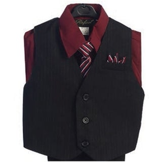 Angels Garment Burgundy 4 Piece Pin Striped Vest Set Boys Suit 2T-4T