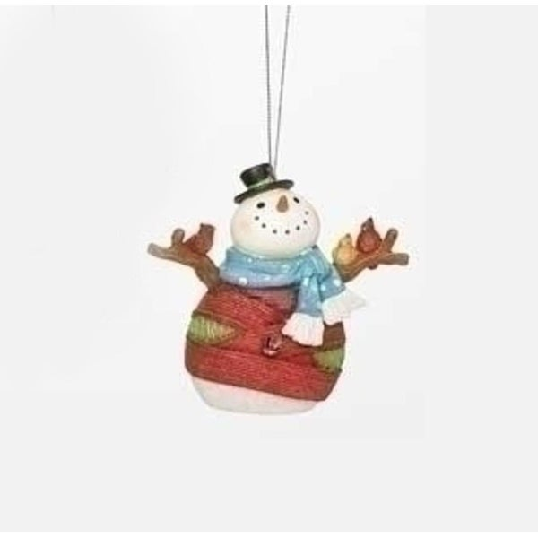 "4"" Colorful Striped Yarn Wrapped Snowman with Cardinal Birds Christmas Ornament"