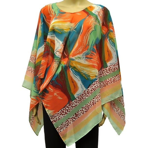Beautiful Chiffon Lightweight Poncho Wrap Scarf Bright Floral Print