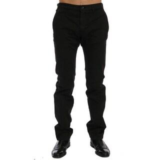 GF Ferre GF Ferre Black Cotton Stretch Chinos Pants