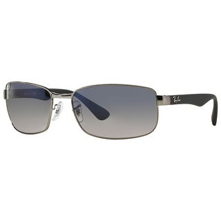 Ray-Ban RB3478 Polarized Rectangle Sunglasses (Gunmetal Gray/Blue Gradient Gray)