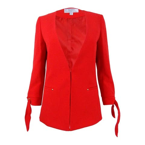 Tahari Women's Tie-Sleeve Jacket - Burnt Orange