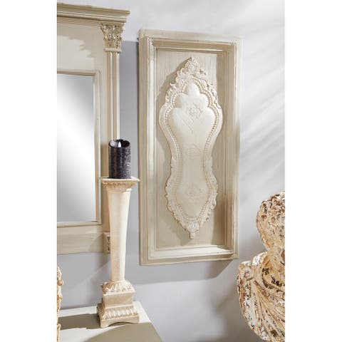 18 x 38 Large White & Beige Antique Carved Wood Wall Decor - 18 x 2 x 38