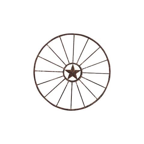 Wagon Wheel with Star Wall Decor - Rust