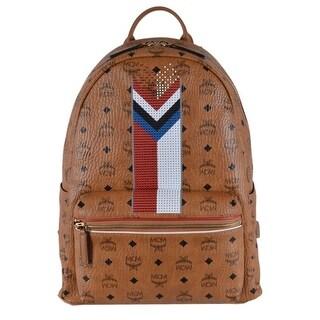MCM Cognac Brown Chevron Beaded Coated Canvas Visetos Stark Backpack - Beige