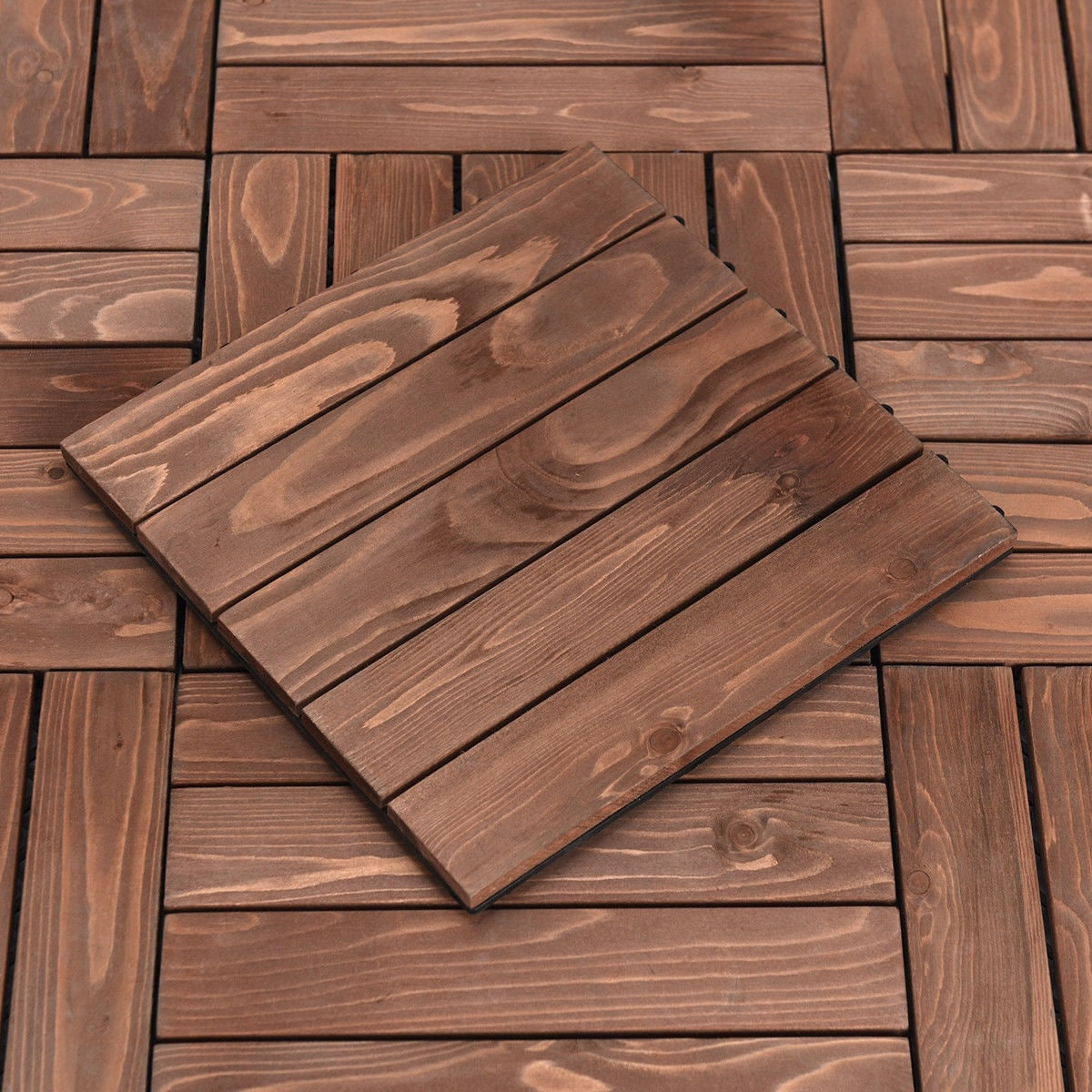 Costway 11pcs Deck Tiles Fir Wood Patio Pavers Interlocking Decking Flooring 12x12