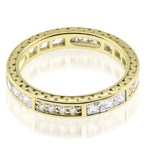 1.00 cttw. 14K Yellow Gold Vintage Round And Princess Cut Diamond Eternity Ring