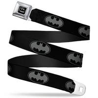 Batman Full Color Black Silver Black Bat Signal 3 Black Gray Black Webbing Seatbelt Belt