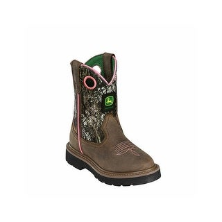 John Deere Western Boots Girls Kids Cowboy Child Camo Pink JD2198