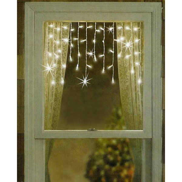 Set of 50 Twinkling & Shimmering Clear Window Curtain Icicle Lights - White Wire