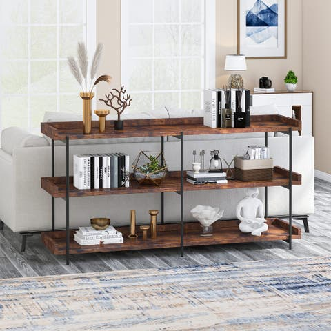 Industrial Console Table 3 Tier Shelf TV Stand for Entryway Hallway