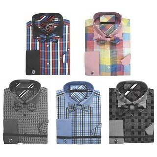 Men's Plaid Dress Shirt Neck Tie Bow Tie Hanky Cufflinks Set