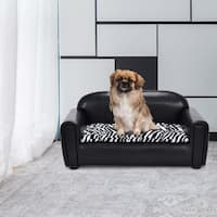 Costway PU Pet Sofa Lounge Dog Puppy Sleeping Bed Soft Comfortable Couch Cushion Black