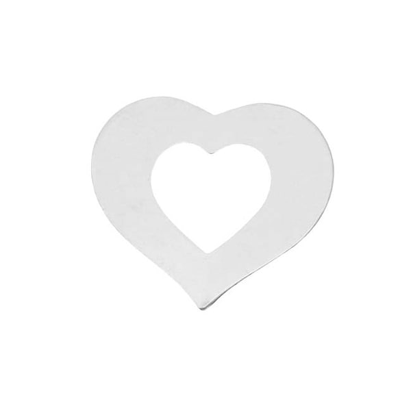 Wide Sterling Silver Open Heart Blank Stamping 22x24mm (1)