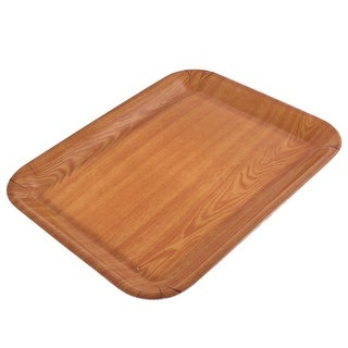 Unique Bargains Hotel Restaurant Wood Grain Pattern Rectangle Shaped Food Cake Serving Tray