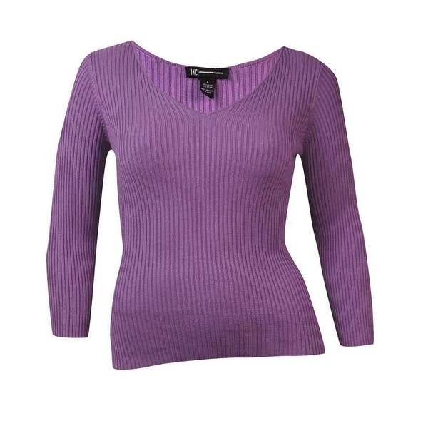 INC International Concepts Women's Ribbed V-Neck Sweater