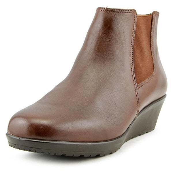 Walking Cradles Kicker Women N/S Round Toe Leather Brown Ankle Boot