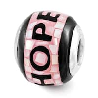 Sterling Silver Reflections Pink/Black MOP Hope Mosaic Bead (4mm Diameter Hole)
