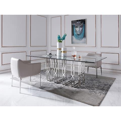 Modrest Ericson Modern Glass & Stainless Steel Dining Table