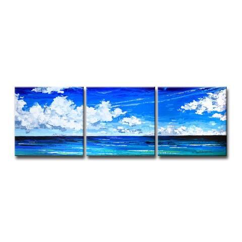 Porch & Den Deep Blue' 3-Pc Coastal Canvas Art Set