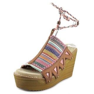 Coolway CINNAMON Open Toe Synthetic Wedge Heel