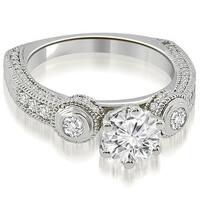 1.18 cttw. 14K White Gold European Shank Three-Stone Diamond Engagement Ring