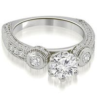 1.68 cttw. 14K White Gold European Shank Three-Stone Diamond Engagement Ring