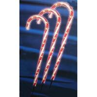 """Set of 3 Lighted Outdoor Shimmering Candy Cane Christmas Lawn Stakes 28"""""""