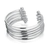 Stardust Sparkle Finish Set Of 5 Bangle Connected Stacked Cuff Bracelet For Women Silver Tone Stainless Steel