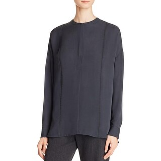 Vince Womens Blouse Silk Embroidery Stitch