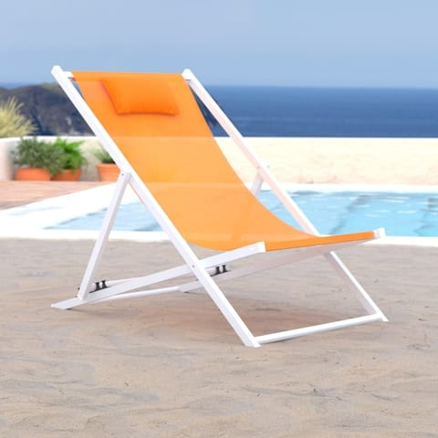 LeisureMod Sunset Patio Sling Folding Chair Adjustable with Headrest