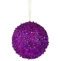 "Fancy Purple Holographic Glitter Drenched Christmas Ball Ornament 4"" (100mm)"
