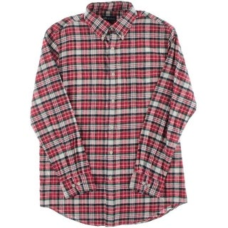 John Ashford Mens Flannel Plaid Button-Down Shirt
